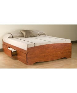 Cherry Queen Mate's 6-drawer Platform Storage Bed