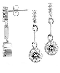 Kate Bissett Silvertone Clear CZ Drop Earrings