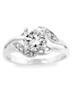 Kate Bissett Silvertone Clear CZ Ring