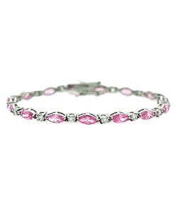 Icz Stonez Sterling Silver Pink and Clear CZ Bracelet