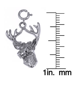 14k White Gold Deer Head Charm