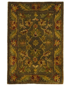 Safavieh Handmade Antiquities Kerman Charcoal Green Wool Rug (2' x 3')