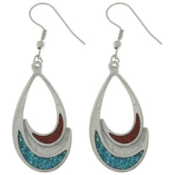 Carolina Glamour Collection Pewter Turquoise and Coral Teardrop Earrings