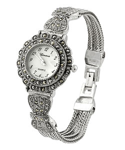 Geneva Women's Marcasite Antique Inspired Watch