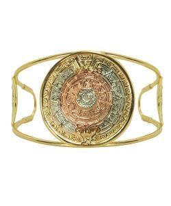 14k Goldfill Aztec Calendar Cuff Bracelet (Mexico)