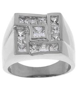 Simon Frank White Gold Overlay Men's Square CZ Ring 3088062