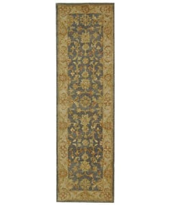 Safavieh Handmade Antiquities Jewel Grey Blue/ Beige Wool Runner (2'3 x 8')