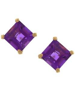 Kabella 14k Gold Amethyst Square Gemstone Stud Earrings