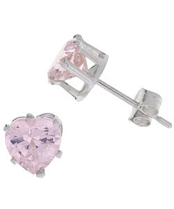 Journee Collection Sterling Silver Heart Shaped Pink CZ Earrings
