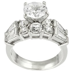 Journee Collection Sterling Silver Round-cut CZ with Bexel-set Baguettes Bridal & Engagement Ring Set
