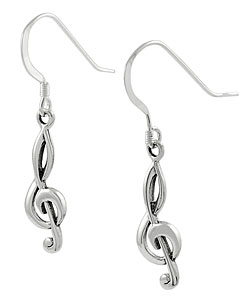 Journee Collection Sterling Silver Musical Note Earrings