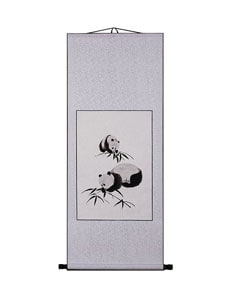 Pandas and Bamboo Chinese Art Wall Scroll Painting