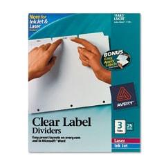 Avery 11445 Index Maker 3-Tab White Divider Clear Laser/Ink Jet Labels