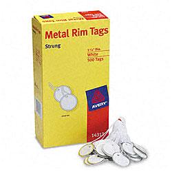 "Avery Metal Rim White 1.25"" Marking Tags - 500/Box"