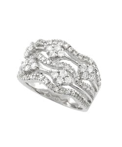 Journee Collection Sterling Silver Multi Stone Wavy CZ Ring