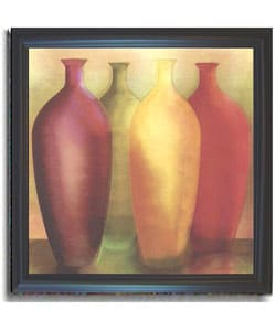 Deborah Jones Four Vases Framed Canvas