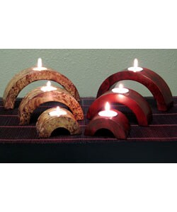 Arched Mango Wood Candle Holders (Set of 6) 3431762