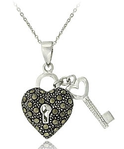 Glitzy Rocks Sterling Silver Marcasite Heart and Key Necklace