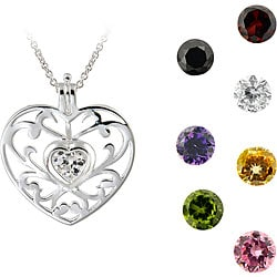 ICZ Stonez Sterling Silver Interchangeable CZ Heart Necklace 3561017