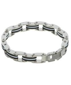 Stainless Steel Black and White Rubber Bracelet