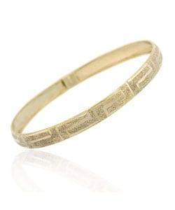 Mondevio 18k Gold over Silver Greek Key Flex Bangle