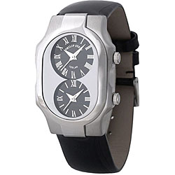 Philip Stein Teslar Women's Dual-Time Watch with Black Patent-Leather Strap