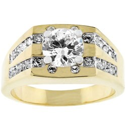 Men's Goldtone Square Top CZ Ring 3604731