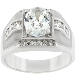 Men's Silvertone Square Design Oval-cut CZ Ring 3613971