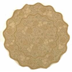 Safavieh Handmade Heritage Oasis Beige Wool Rug (6' Round)