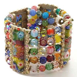 Sweet Romance Tango Millefiori Glass Cuff Bracelet :  bangle jewelry cuff jewellery