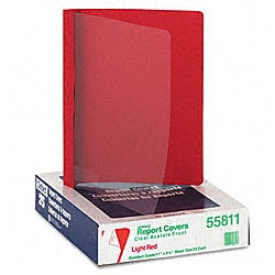 Clear Front Report Cover with Red Leatherette Back (25 per Box)