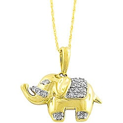 14k Gold 1/10ct TDW Diamond Elephant Necklace