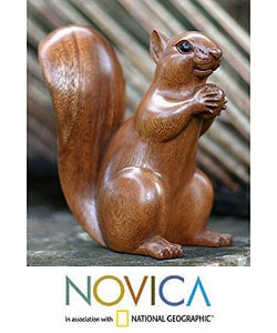 Wood 'Squirrel with an Acorn' Sculpture (Indonesia)