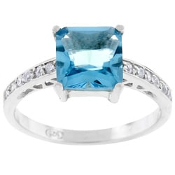 Kate Bissett SterlingSilver Blue Princess-cut CZ Ring
