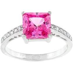 Kate Bissett Sterling Silver Pink Princess-cut CZ Ring