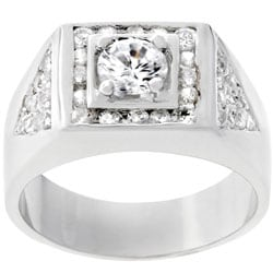 Kate Bissett Men's Silvertone Geometrical Design CZ Ring 3614081