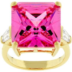 Kate Bissett Goldtone Princess-cut Pink CZ Cocktail Ring