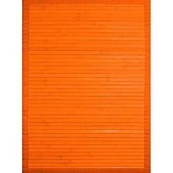 Handmade Orange Bamboo Rug (5' x 7')