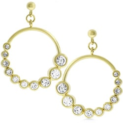 Kate Bissett Goldtone Drop Circle Journey CZ Earrings