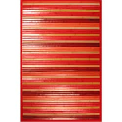 Handmade Red Bamboo Rug (5' Octagon)