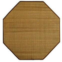 Tan Woven Bamboo Rug (5' x 5')