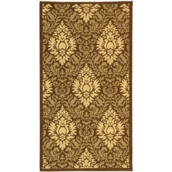 Safavieh Indoor/ Outdoor Crescent Chocolate/ Natural Rug (4' x 5'7)