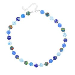 Glitzy Rocks Sterling Silver Blue Venetian Glass Bead Necklace