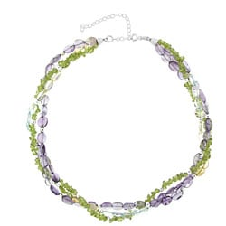 Glitzy Rocks Silver Semi-precious Gemstone Torsade Necklace