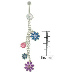 CGC Flower CZ and Enamel 14-gauge Chain Belly Ring