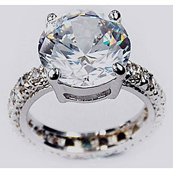 Simon Frank 14k White Gold Overlay Super Solitaire Ring