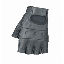 Unisex Durable Black Leather Rugged Fingerless Motorcycle Gloves 3685346