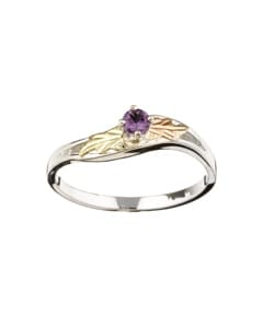 Black Hills Gold and Sterling Silver June Birthstone Ring