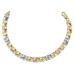 14k Three-tone Gold Leaf Design Bracelet