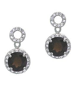 Glitzy Rocks 18k Smokey Quartz and CZ Circle Dangle Earrings
